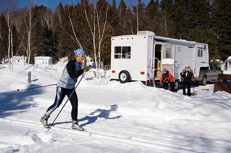 Travel trailer RV in winter camping